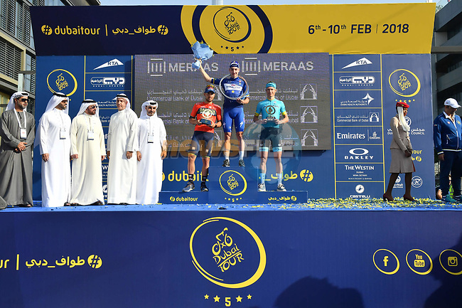 Race leader Elia Viviani (ITA) Quick-Step Floors wins overall with Magnus Cort Nielsen (DEN) Astana Pro Team in 2nd place and Sonny Colbrelli (ITA) Bahrain-Merida 3rd at the end of Stage 5 The Meraas Stage final stage of the Dubai Tour 2018 the Dubai Tour's 5th edition, running 132km from Skydive Dubai to City Walk, Dubai, United Arab Emirates. 10th February 2018.<br /> Picture: LaPresse/Massimo Paolone | Cyclefile<br /> <br /> <br /> All photos usage must carry mandatory copyright credit (© Cyclefile | LaPresse/Massimo Paolone)