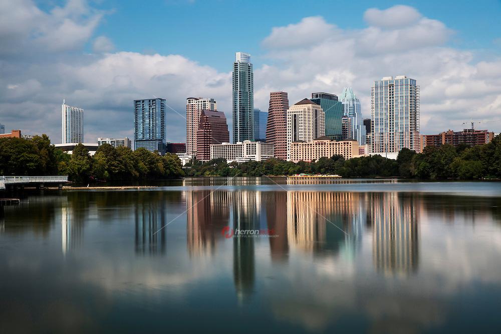 Beautiful Sunset falls on the Austin Skyline as water