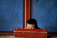 Tibet, Kham<br /> Xinlong, monks in monastery, 2004