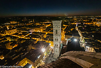 Italy, Florence Santa Maria del Fiore Church, night landscape view from the top of the Dome