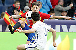 Spain's Hectro Bellerin (l) and South Korea's Sukyoung Yun during friendly match. June 1,2016.(ALTERPHOTOS/Acero)
