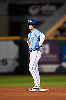 Omaha Storm Chasers Bobby Witt Jr. (7) stands on second base during a game against the Iowa Cubs on August 14, 2021 at Werner Park in Omaha, Nebraska. (Zachary Lucy/Four Seam Images)