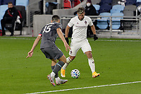 ST PAUL, MN - OCTOBER 28: Diego Rubio #11 of Colorado Rapids  and Michael Boxall #15 of Minnesota United FC battle for the ball during a game between Colorado Rapids and Minnesota United FC at Allianz Field on October 28, 2020 in St Paul, Minnesota.