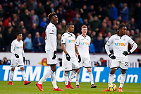 Swansea City players look dejected as they wait to restart the game during the Premier League match between Burnley and Swansea City at Turf Moor, Burnley, England, UK. Saturday 18 November 2017
