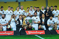 The South team celebrates winning the rugby match between North and South at Sky Stadium in Wellington, New Zealand on Saturday, 5 September 2020. Photo: Dave Lintott / lintottphoto.co.nz