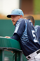 Columbus Clippers relief pitcher Cole Sulser (50) in the dugout during a game against the Gwinnett Stripers on May 17, 2018 at Huntington Park in Columbus, Ohio.  Gwinnett defeated Columbus 6-0.  (Mike Janes/Four Seam Images)
