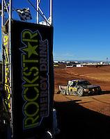 Apr 16, 2011; Surprise, AZ USA; LOORRS driver Rob MacCachren (1) takes the checkered flag to win round 3 at Speedworld Off Road Park. Mandatory Credit: Mark J. Rebilas-