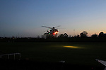 Rescue 116  inbound with a male casualty, Rescue 116 landed at the GAA grounds in Drogheda where the casualty was transferred to an awaiting ambulance. Drogheda Coast Guard had prepared the Landing Zone. Drogheda Fire & Rescue provided fire cover on scene.<br /> 3rd January 2015.<br /> Picture:  Thos Caffrey / www.newsfile.ie