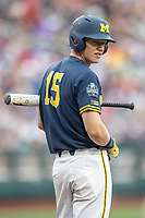 Michigan Wolverines first baseman Jimmy Kerr (15) waits on deck during Game 6 of the NCAA College World Series against the Florida State Seminoles on June 17, 2019 at TD Ameritrade Park in Omaha, Nebraska. Michigan defeated Florida State 2-0. (Andrew Woolley/Four Seam Images)