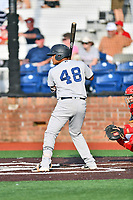 Pulaski Yankees catcher Carlos Narvaez (48) awaits a pitch during a game against the Johnson City Cardinals at TVA Credit Union Ballpark on July 7, 2018 in Johnson City, Tennessee. The Cardinals defeated the Yankees 7-3. (Tony Farlow/Four Seam Images)