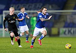 St Johnstone v Livingston…12.12.20   McDiarmid Park      SPFL<br />Stevie May tracked by Craig Sibbald<br />Picture by Graeme Hart.<br />Copyright Perthshire Picture Agency<br />Tel: 01738 623350  Mobile: 07990 594431