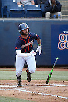Taylor Bryant (1) of the Cal State Fullerton Titans bats against the Wichita State Shockers at Goodwin Field on March 13, 2016 in Fullerton, California. Cal State Fullerton defeated Wichita State, 7-1. (Larry Goren/Four Seam Images)