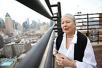 NEW YORK - SUNDAY BIZ - Carmen Gilda Miros, 79, on the roof deck of her apartment building in Manhattan, NY, Wednesday, September 13, 2017.  Miros is a semi-retired actress and radio personality, and is still actively working.<br /> <br /> PICTURED:  <br /> <br /> (Angel Chevrestt, 646.314.3206)