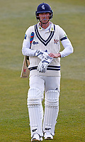 Kent's Joe Denly trudges off after being given out LBW off the bowling of Yorkshire's Steven Patterson during Kent CCC vs Yorkshire CCC, LV Insurance County Championship Group 3 Cricket at The Spitfire Ground on 16th April 2021