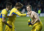 Hibs v St Johnstone…18.11.17…  Easter Road…  SPFL<br />Steven MacLean celebrates his goal with Murray Davidson and Murray Davidson<br />Picture by Graeme Hart. <br />Copyright Perthshire Picture Agency<br />Tel: 01738 623350  Mobile: 07990 594431