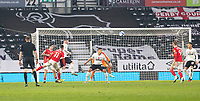 7th November 2020; Pride Park, Derby, East Midlands; English Football League Championship Football, Derby County versus Barnsley; Conor Chaplin of Barnsley takes a shot at the Derby goal but goes over the crossbar