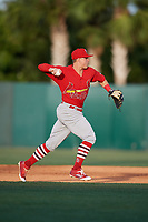 Palm Beach Cardinals second baseman Andy Young (15) throws to first base during a game against the Florida Fire Frogs on May 1, 2018 at Osceola County Stadium in Kissimmee, Florida.  Florida defeated Palm Beach 3-2.  (Mike Janes/Four Seam Images)