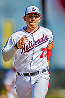 21 February 2019: Washington Nationals catcher Tres Barrera runs bases during a Spring Training workout at the Ballpark of the Palm Beaches in West Palm Beach, Florida. Mandatory Credit: Ed Wolfstein Photo *** RAW (NEF) Image File Available ***