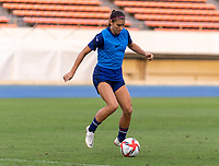 TOKYO, JAPAN - JULY 20: Alex Morgan #13 of the USWNT dribbles during a training session at the practice fields on July 20, 2021 in Tokyo, Japan.