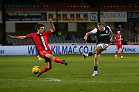 27th March 2021; Dens Park, Dundee, Scotland; Scottish Championship Football, Dundee FC versus Dunfermline; Jason Cummings of Dundee fires in a shot on goal