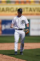 Detroit Tigers second baseman Corey Joyce (28) during a Minor League Spring Training game against the Baltimore Orioles on April 14, 2021 at Joker Marchant Stadium in Lakeland, Florida.  (Mike Janes/Four Seam Images)