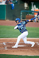 Josh McLain (15) of the Ogden Raptors bats against the Grand Junction Rockies at Lindquist Field on June 14, 2019 in Ogden, Utah. The Raptors defeated the Rockies 12-0. (Stephen Smith/Four Seam Images)