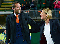 20160302 – DEN HAAG ,  NEDERLAND : Coach of Switzerland Martina Voss-Tecklenburg pictured with Dutch coach Arjan Van der Laan (left) during the Olympic Qualification Tournament  soccer game between the women teams of Switzerland and The Netherlands, The first game for both teams in the Olympic Qualification Tournament for the Olympic games in Rio de Janeiro - Brasil, Wednesday 2 March 2016 at Kyocera Stadium in The Hague , Netherlands  PHOTO DAVID CATRY