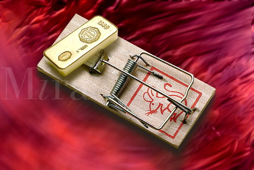 Gold bar on a mousetrap.