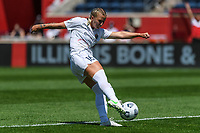 BRIDGEVIEW, IL - JUNE 5: Hailie Mace #16 of the North Carolina Courage kicks the ball during a game between North Carolina Courage and Chicago Red Stars at SeatGeek Stadium on June 5, 2021 in Bridgeview, Illinois.