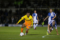 Aaron Holloway of Wycombe Wanderers heads away from Mark McChrystal of Bristol Rovers during the Johnstone's Paint Trophy match between Bristol Rovers and Wycombe Wanderers at the Memorial Stadium, Bristol, England on 6 October 2015. Photo by Andy Rowland.