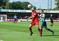 Joe McNerney of Crawley Town and Matt Bloomfield of Wycombe Wanderers during the Sky Bet League 2 match between Crawley Town and Wycombe Wanderers at Broadfield Stadium, Crawley, England on 6 August 2016. Photo by Alan  Stanford / PRiME Media Images.