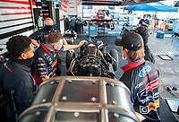 Jul 12, 2020; Clermont, Indiana, USA; Crew members for NHRA funny car driver Jonnie Lindberg during the E3 Spark Plugs Nationals at Lucas Oil Raceway. This is the first race back for NHRA since the start of the COVID-19 global pandemic. Mandatory Credit: Mark J. Rebilas-USA TODAY Sports