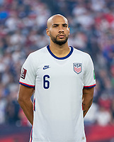NASHVILLE, TN - SEPTEMBER 5: John Brooks #6 of the United States stands on the field during a game between Canada and USMNT at Nissan Stadium on September 5, 2021 in Nashville, Tennessee.