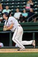 Right fielder Derek Miller (16) of the Greenville Drive bats in a game against the Lexington Legends on Tuesday, April 14, 2015, at Fluor Field at the West End in Greenville, South Carolina. Lexington won, 5-3. (Tom Priddy/Four Seam Images)