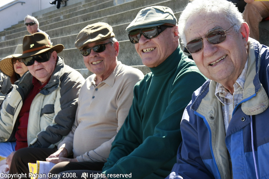 """Isaias Luz, Manny Gomez, John Zolezzi and Bill """"Howard"""" Mayfield from the 1953 CIF champion PLHS football team attend a Memorial service held for Coach Bennie Eden at the Point Loma High School Football stadium that was recently renamed in his honor, Saturday February 23 2008."""