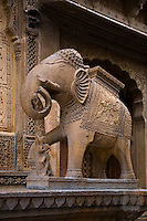 A hand carved SANDSTONE ELEPHANT decorates the exterior of the Mayors beautiful HAVELI or home in JAISALMER - RAJASTHAN, INDIA