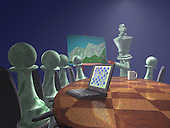 Pawns at conference table