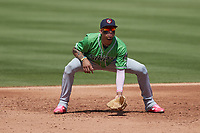 Gwinnett Stripers third baseman Johan Camargo (17) on defense against the Charlotte Knights at Truist Field on May 9, 2021 in Charlotte, North Carolina. (Brian Westerholt/Four Seam Images)