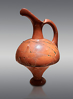 Hittite terra cotta pitcher - 16th century BC - Hattusa ( Bogazkoy ) - Museum of Anatolian Civilisations, Ankara, Turkey . Against gray background