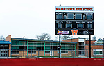 WATERTOWN, CT-011321JS01- The scoreboard at John Mills Field at Watertown High School. The mascot committee is recommending the Watertown Board of Education replace the Indian mascot with Warrior. <br /> Jim Shannon Republican-American