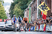 Mathieu van der Poel (NED/Alpecin Fenix), Wout van Aert (BEL/Jumbo-Visma) & Zdenek Stybar (CZE/Deceuninck - Quick Step) up the Wijnpersstraat<br /> <br /> Elite Men World Championships - Road Race<br /> from Antwerp to Leuven (268.3km)<br /> <br /> UCI Road World Championships - Flanders Belgium 2021<br /> <br /> ©kramon