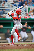 Williamsport Crosscutters shortstop Jonathan Guzman (6) at bat during a game against the Batavia Muckdogs on June 22, 2018 at Dwyer Stadium in Batavia, New York.  Williamsport defeated Batavia 9-7.  (Mike Janes/Four Seam Images)