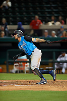 Tampa Tarpons center fielder Pablo Olivares (7) at bat during a Florida State League game against the Lakeland Flying Tigers on April 5, 2019 at Publix Field at Joker Marchant Stadium in Lakeland, Florida.  Lakeland defeated Tampa 5-3.  (Mike Janes/Four Seam Images)