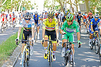 18th July 2021; Paris, France; VINGEGAARD Jonas (DEN) of JUMBO-VISMA, POGACAR Tadej (SLO) of UAE TEAM EMIRATES and CAVENDISH Mark (GBR) of DECEUNINCK - QUICK-STEP during stage 21 of the 108th edition of the 2021 Tour de France cycling race, the stage of 108,4 kms between Chatou and finish at the Champs Elysees in Paris.