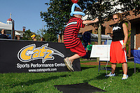 A young fan sees how high he can jump at a station provided by Catz Sports Performance Center. Sky Blue FC defeated the Boston Breakers 2-1 during a WPS regular season match at Harvard Stadium in Boston, MA, on July 12, 2009.