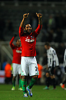 Saturday 17 November 2012<br /> Pictured: Kemy Agustien of Swansea thanks away supporters after the final whistle.<br /> Re: Barclay's Premier League, Newcastle United v Swansea City FC at St James' Park, Newcastle Upon Tyne, UK.