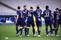 17th November 2020; Stade de France, Paris,  France; UEFA National League international football, France versus Sweden;  FRANCE huddles before the game