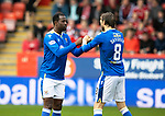 Aberdeen v St Johnstone…18.09.21  Pittodrie    SPFL<br />Efe Ambrose and Murray Davidson pictured just before kick off<br />Picture by Graeme Hart.<br />Copyright Perthshire Picture Agency<br />Tel: 01738 623350  Mobile: 07990 594431