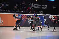 SPEEDSKATING: DORDRECHT: 06-03-2021, ISU World Short Track Speedskating Championships, SF 1500m Ladies, Aurelle Monvoisin (FRA), Cynthia Mascitto (ITA), Natalia Maliszewska (POL), Hanne Desmet (BEL), Florence Brunelle (CAN), ©photo Martin de Jong