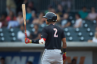 Lenyn Sosa (2) of the Kannapolis Intimidators at bat against the Augusta GreenJackets at SRG Park on July 6, 2019 in North Augusta, South Carolina. The Intimidators defeated the GreenJackets 9-5. (Brian Westerholt/Four Seam Images)